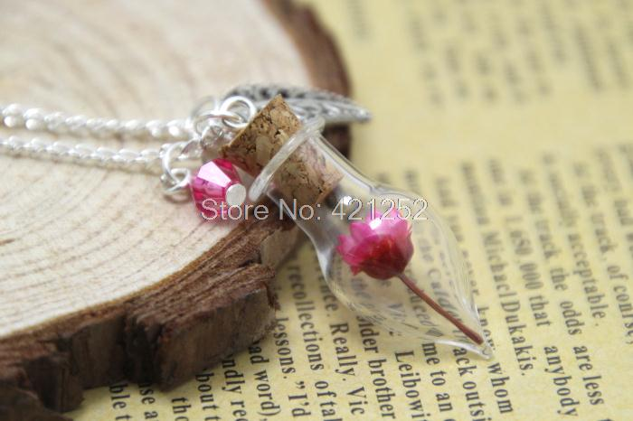 10pcs light Pink Flower Tiny  Glass Bottle Necklace  leaf charm and crystal silver chain necklace  woodland jewelry<br><br>Aliexpress