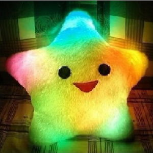 Pink/ White/ White Smiling Star Cushion Pillows 7 Flashing LED Light Plush Battery Powered Pillow Free Shipping -PJ(China (Mainland))
