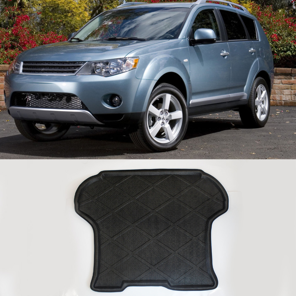 3D Black Truck  Rear Tail Tray Boot Liner Protecter Cargo Mat Carpet All Weather Waterproof For Mitsubishi Outlander 2007-2012