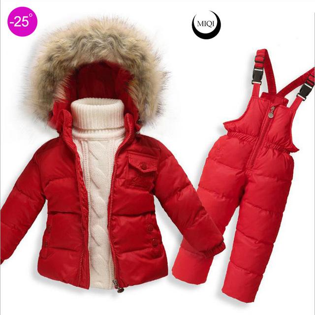 Девочки snowsuit детские Теплые Верхняя Одежда Пальто Детская одежда устанавливает утка пуховик мальчики водонепроницаемый snowsuit Дети Лыжный Костюм Комбинезон