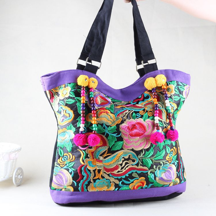 2015 Promotion Totes Two Handbags Bolsa Feminina Manufacturers Selling Wooden Bead Flocculus New Folk Style Bag Handbag Leisure(China (Mainland))