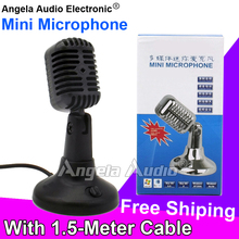 Free Shipping Mini Wired Desktop Vintage Studio Recording Condenser Microphone Mic Mike For Karaoke PC Teaching Meeting Computer