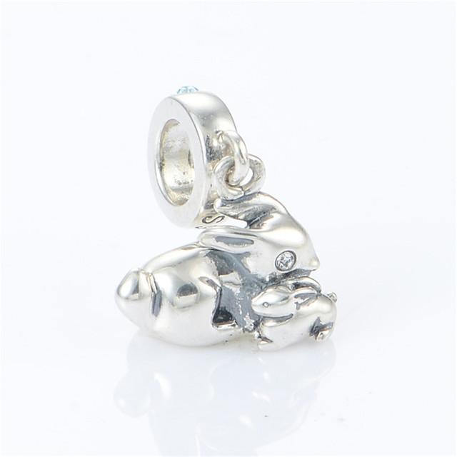 Стерлингового серебра 925 мать ребенка кролик мотаться бусины для женщин DIY создание приспосабливать европейские браслеты и ожерелье