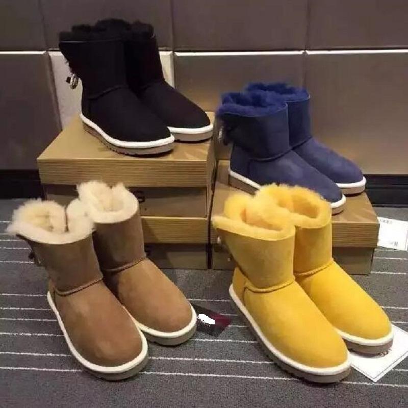 2015 News Genuine Leather Snow Winter Boots Sheepskin Women Shoes Australia Classic botas mujer<br><br>Aliexpress