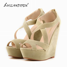 LOSLANDIFEN Fashion Ladies Pumps Velvet Platform Peep Toe High Heels Shoes Wedges Pumps For Women Wedding Shoes 391-10VE(China (Mainland))