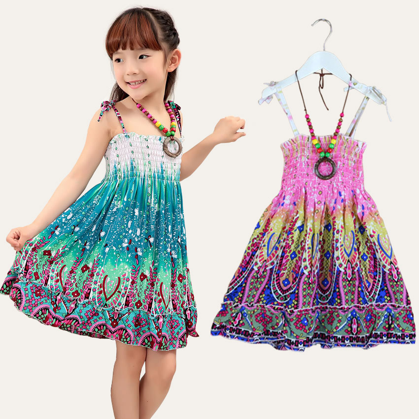 2-15T 2015 New summer style girls clothing Fashion Knee-length beach dresses for girls sleeveless bohemian girls kids sundress(China (Mainland))