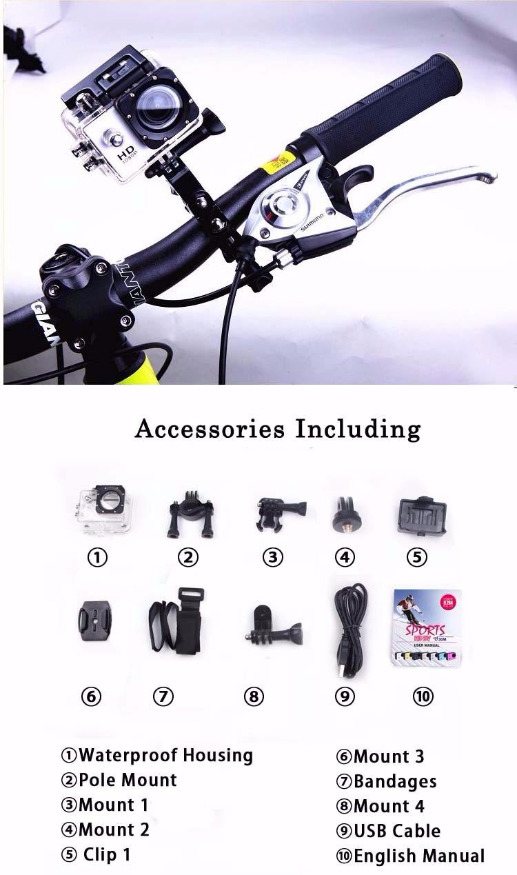 Waterproof 1080P HD Sport Outdoor Action Camera GoPro Accessories Better Then Go Pro Hero 4 SJ4000 Series For Xiaomi Yi 4K