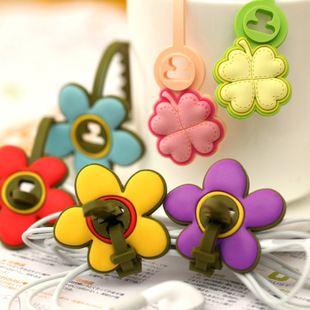 Free Shipping/NEW cute flower Earphone cable Winder(2pcs/1pair)/Cord wire holder/Organizer/coiling line device/Wholesale