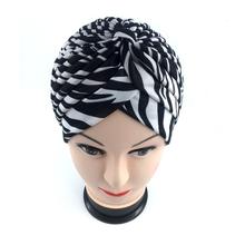 2016 Free Shipping leopard zebra Stretchy Turban Headwrap Hats Band Sleep high Quality Chemo Bandana hijab and muslim Indian Cap