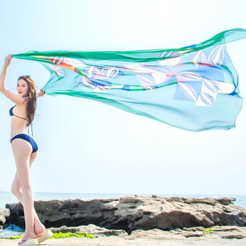 13ea3b28b33c1 2019 140x190cm Scarf Summer Women Beach Sarongs Chiffon Scarves ...