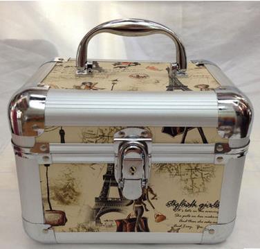Korean Fashion Cosmetics Bag Make-Up Aluminum Alloy Lock Multilayer Cosmetic Cases Organizers Portable Jewelry Box(China (Mainland))
