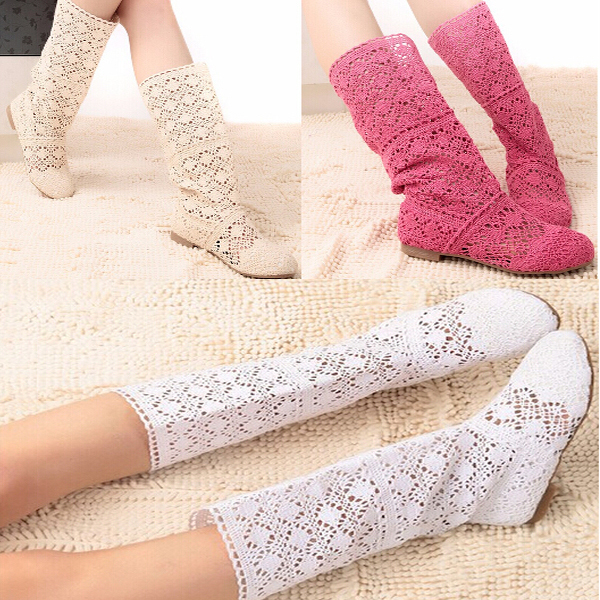 2015 Plus size Woman shoes storm Boots princess models knitted boots hollow summer women's tall canister boots size 35-41(China (Mainland))