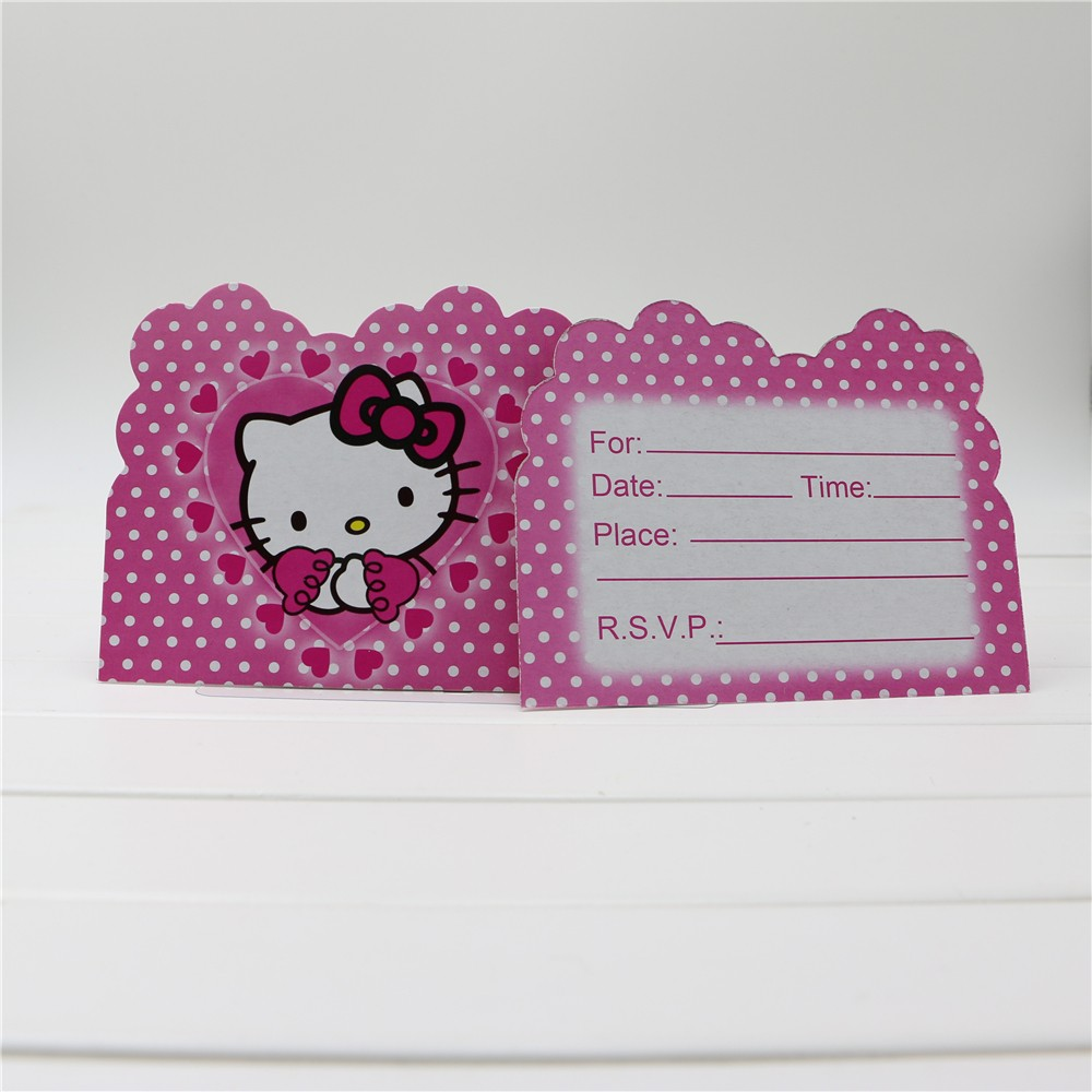 compare prices on hello kitty invitation card online shopping buy 10pcs lot hello kitty theme invitation card 11 14cm for girls birthday party decoration