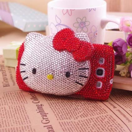New Handmade Cute Hello Kitty Mirror Phone Protect Back Cover Gift Bling Rhinestone Cell Phone Case For Samsung Galaxy S4 I9500(China (Mainland))
