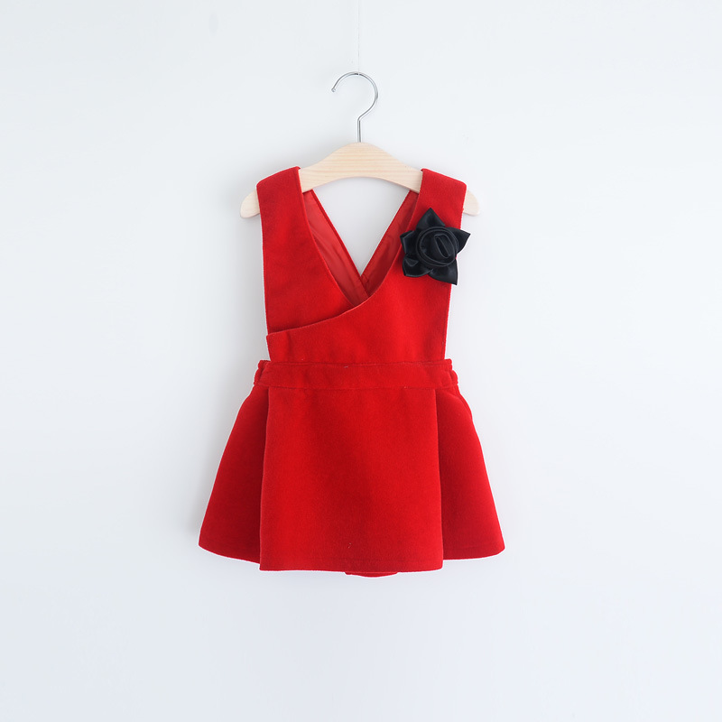Christmas Kids Girls Wool Blends Dresses Baby Girl Winter V-neck Party Dress 2016 Babies Red Dress with Floral Brooch<br><br>Aliexpress