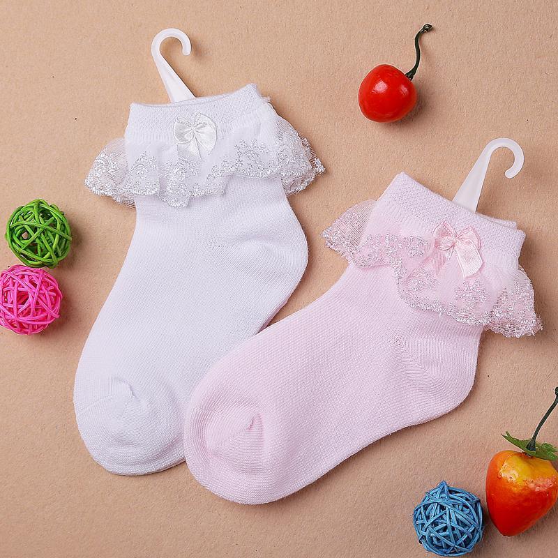 Thin summer baby girls kids toddler white pink cotton lace ruffle princess mesh socks, cheap children boot short sock sox(China (Mainland))