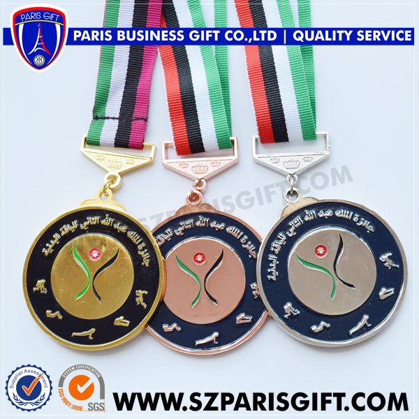 Jordan gold silver bronze medals custom Aluminium medal with jordan flag ribbon (OEM Custom design only)(China (Mainland))