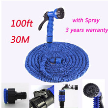 Garden hose Stretched 30M Hose Watering 100FT Blue Flexible Expanding Garden Supplies Water Hose For Car Pipe With Spray Gun 5(China (Mainland))