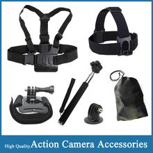 gopro hero 4 Accessories Head Belt+Chest Belt+Wrist Strap+Bag+Monopod+Tripod Mount Adapter for Go pro sjcam sj4000 sj5000 camera