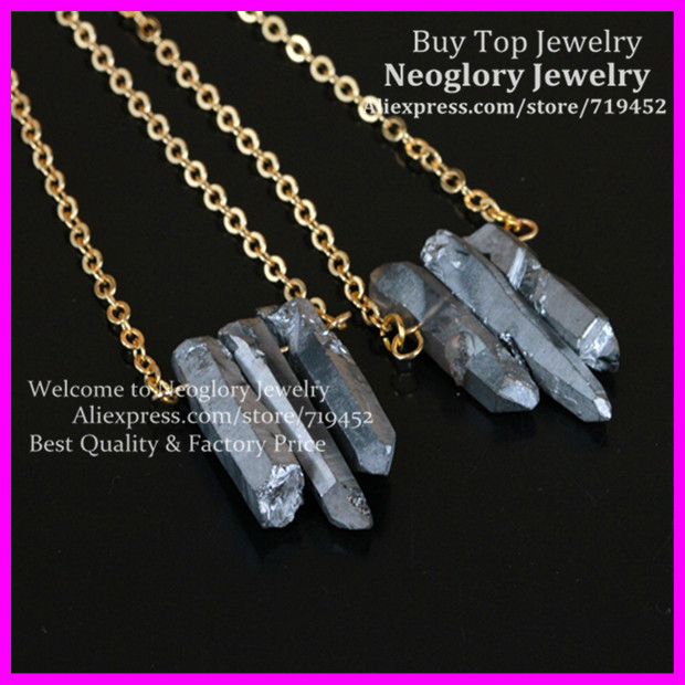 5PCS Raw Silver Flame Rainbow Titanium Aura Cryatal Quartz Spike Necklace Rough Druzy Point Arrow Boho Gem with Gold Brass Chain(China (Mainland))