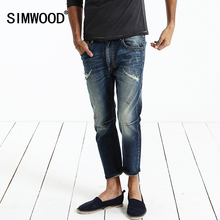 Simwood Jeans Men Fashion 2016 New Arrival Brand Slim Fit Straight Denim Casual Hole Long Trousers Men Pants Free Shipping(China (Mainland))