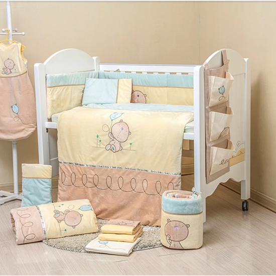 7Pcs Baby Bedding Set for Crib Newborn Baby Bed Linens for Girl Boy Cartoon Bear Detachable Cot Bumpers Sheet Quilt(China (Mainland))