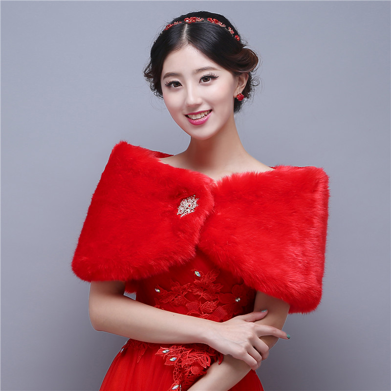 Fashion Winter Wedding Coat Red Faux Fur Bolero Shawl Scarf Wraps Cape Shrug Wedding Accessories Off Shoulder Bolero Louisvuigon(China (Mainland))