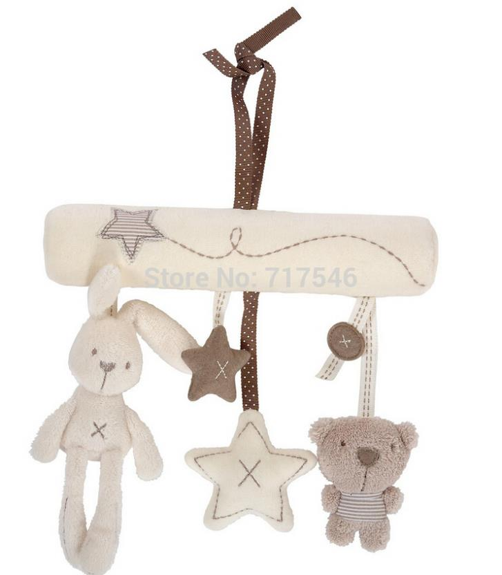 rabbit baby cot bed Stroller Hanging Rattle Plush Soft toy musical mobile products(China (Mainland))