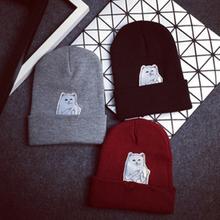 Homens mulheres Fall New Fashion Lovey Katong dedo médio gatos capricho inverno Caps Chapeus Casquette tricô chapéu Feminino chapéus quentes