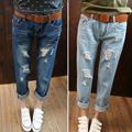 Large size women fat MM waist jeans eighth hole jeans woman boyfriend jeans for women ripped