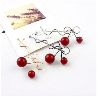 2015 Korea Korean side clip bangs clip hair accessories hairpin head ornaments red cherry summer style(China (Mainland))