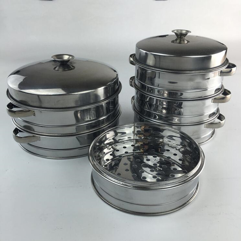 1 suit Cookware Stainless Steel Steamer Steamed Dumplings Chinese Kitchen Steamer Lattice Fish Rice Dim Sum Commercial Breakfast(China (Mainland))