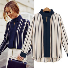 Women Blouses Button Full New Arrival Special Offer Plus Size Blusas Striped Shirt 2016 Women's Clothing Loose Long-sleeved E84