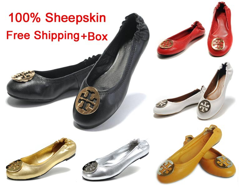 100% sheepskin size 35-41 new brand women flats shoes Fast Free SHIPPING Sheepskin metal buckle Women Ballet Flat Shoes(China (Mainland))