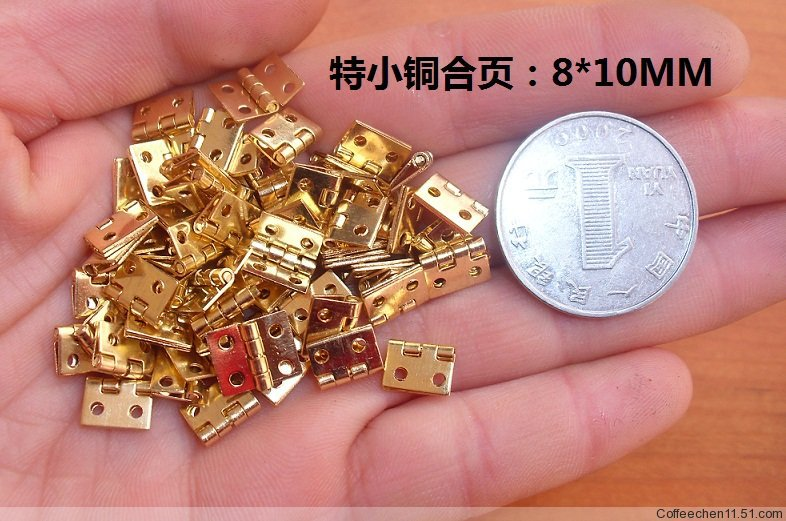100Pcs 8*10 Mini Cabinet Drawer Butt Hinge Brass copper gold small hinge 4 small hole 8*10 copper hinge(China (Mainland))