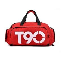 Promotion Nylon T90 Unisex Sport Duffle Tote Shoulder Messenger 3In1 Function Women/Men Waterproof Luggage Travel Gym Bags black(Hong Kong)