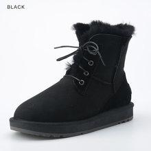עור כבש אמיתי אופנה סגנון חדש מגפי שלג קרסול חורף פרווה מרופדת נשים גבירותיי תחרה עד נעלי חורף מקרית(China)