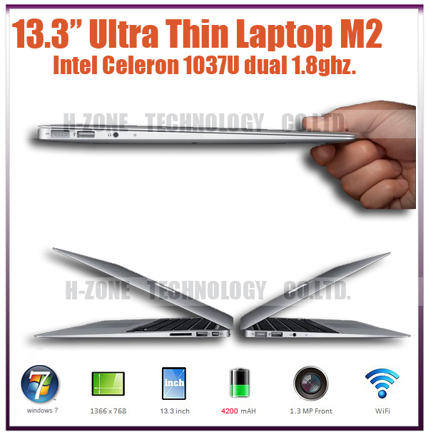 13 Inch Ultra Thin Ultrabook Slim Laptop With Metal Case Intel Celeron 1037 Dual Core 1.86Ghz 2GB RAM 32GB SSD 4200mAh Battery(Hong Kong)