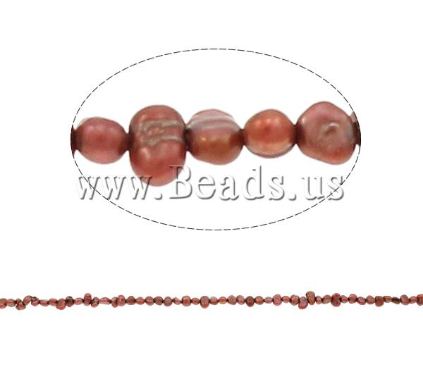 Free shipping!!!Potato Cultured Freshwater Pearl Beads,dream,bridesmaids jewelry, claret, 3-4mm, Hole:Approx 0.8mm(China (Mainland))