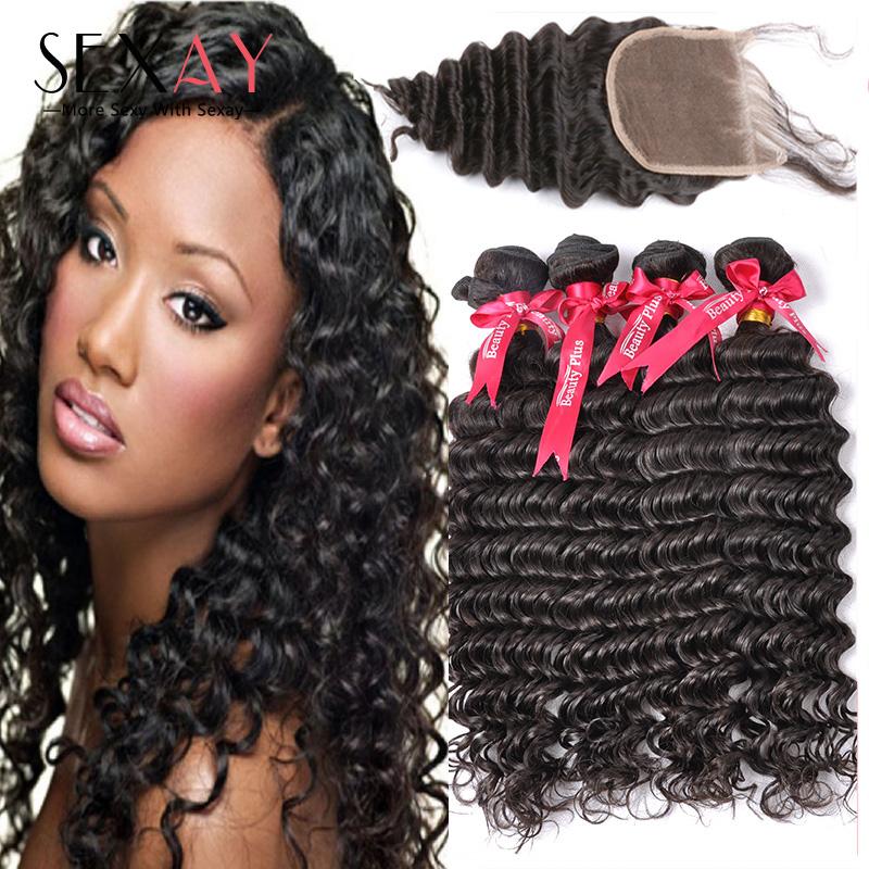 Cheap 6A Peruvian Deep Curly Virgin Hair With Lace Closure 100G Queen Hair Products 2/3/4 Human Hair Bundles  With Closure<br><br>Aliexpress