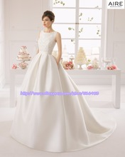 Popular 2015 Newest A-Line Scoop Floor Length Party Applique Ruched Bow White Train Formal Wedding Dresses Gowns(China (Mainland))