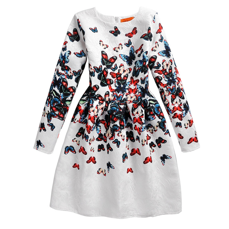 Flower Girls Dresses Winter 2016 Floral Print Long Sleeve Kids Dresses for Girls Clothes Party Princess Dress Children 6-12Y(China (Mainland))