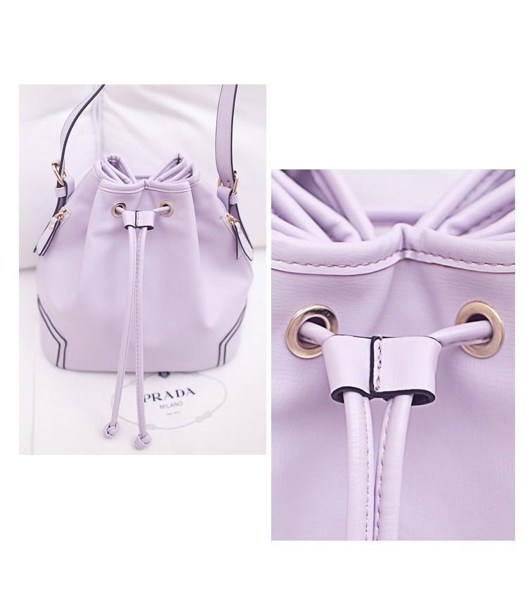 2015 Women Hot PU Leather Bucket Bag Drawstring Shoulder Bag Brand