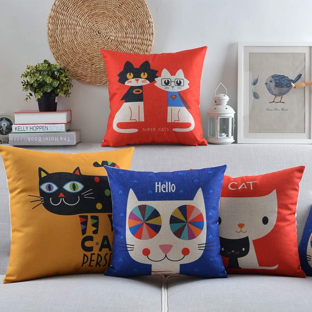 Free Shipping Cartoon cute cat throw pillow almofadas case teenage kid children girl fashion romantic cushion