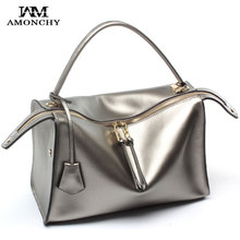 New Arrival Winter Women's Handbags Imported Genuine Leather Ladies Shoulder Bags Totes Brand Cowhide Boston Bag Sac En Cuir T58(China (Mainland))
