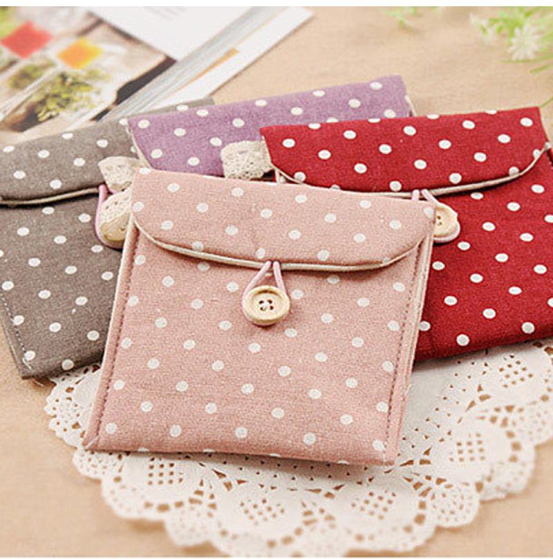5 Colors Brief Cotton Full Dots Sanitary Napkin Bags Sanitary Towel Storage Bag Korean style wave point cartoon napkin bag(China (Mainland))