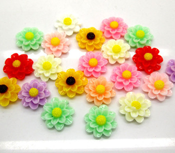 50 Mixed Resin Flower Beads Scrapbook Embellishments Fit DIY Phone Decoration