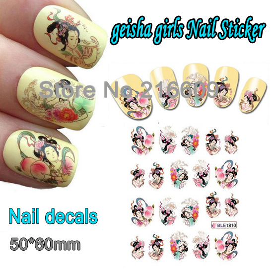 Nail 1 Sheet Geisha Girl Nail Art Water Transfer Sticker Decal Sticker For Nail Art Decoration BLE1810(China (Mainland))