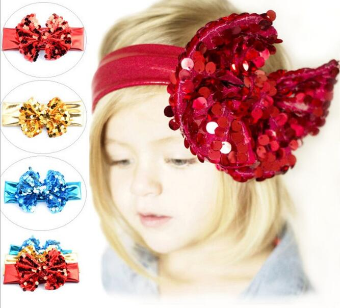 Hot Sale Baby Hair Bands Girls Lace Big Bow Hair Band Toddler Head Wrap Headband Accessories 5pcs/lot Lowest Price(China (Mainland))