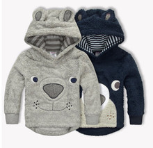 New Winter Baby Boy Clothes Cartoon Bear Thicken Children Hoodies Coral Fleece Kids Sweaters Jackets Baby Coats(China (Mainland))